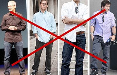 نکاتی برای لباس پوشیدن آقایان, اشتباهاتی در لباس پوشیدن آقایان