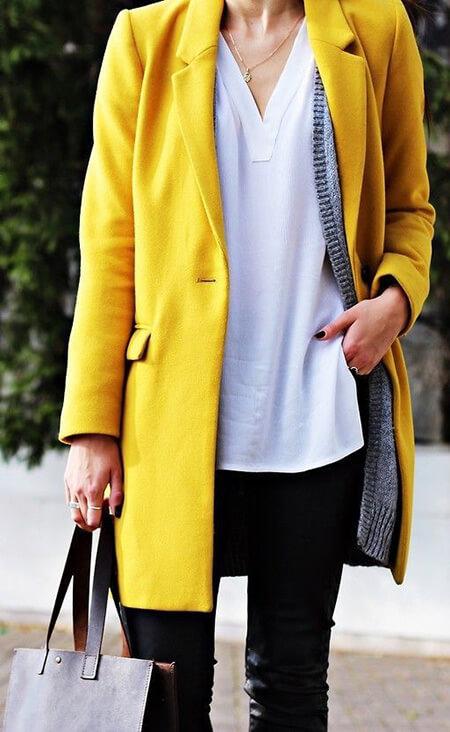 ست کردن خاکستری با پالتو زرد,ست پالتو زرد با رنگ خاکستری