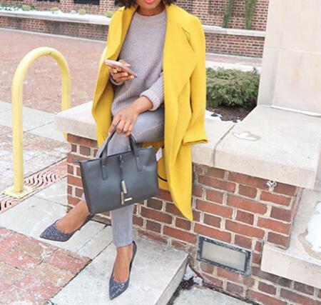 پوشش پالتو زرد با خاکستری, مدل های ست کردن پالتو زرد با خاکستری
