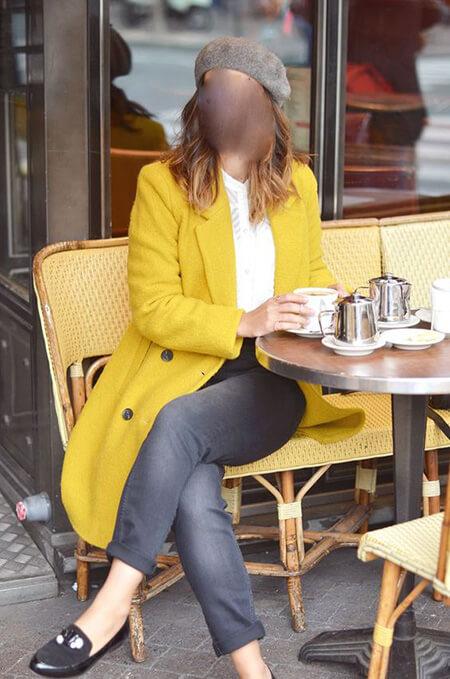 ایده هایی برای ست کردن خاکستری و زرد, مدل پالتو زرد