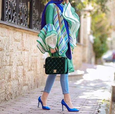 شیک ترین ست ها با مانتو سبز,بهترین رنگ برای ست کردن با مانتو سبز