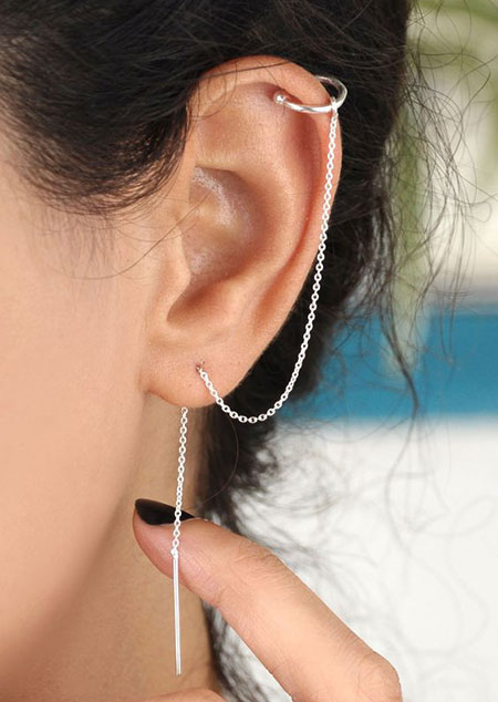 گوشواره بخیه ای سنگ دار,مدل گوشواره بخیه ای