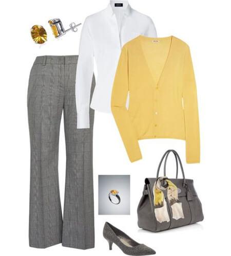 ست های شیک خاکستری و زرد, تصاویر ست های خاکستری و زرد, شیک ترین لباس های زرد و خاکستری
