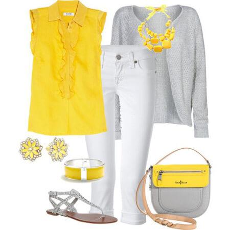 مدل ست های لباس خاکستری و زرد, مدل های ست خاکستری و زرد, ست های شیک خاکستری و زرد