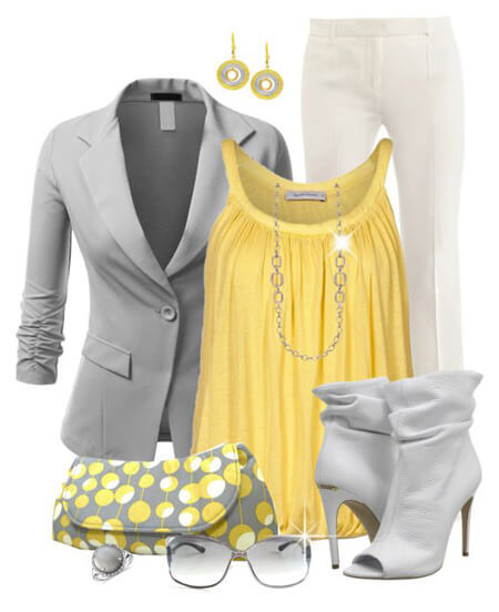 لباس های زرد و خاکستری, ست های شیک به رنگ زرد و خاکستری, مدل لباس به رنگ سال 1400