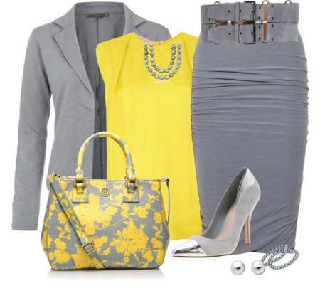 شیک ترین لباس های زرد و خاکستری, ایده هایی برای ست های خاکستری و زرد, مدل لباس با رنگ زرد و خاکستری