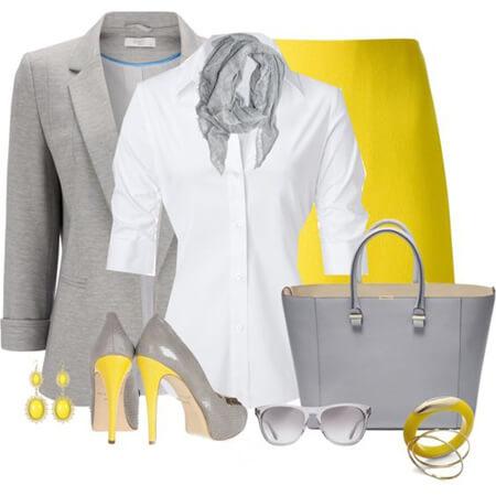 مدل لباس با رنگ زرد و خاکستری, لباس های زرد و خاکستری, ست های شیک به رنگ زرد و خاکستری