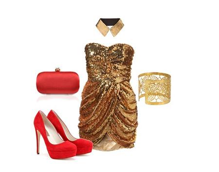 ست های مناسب برای لباس های طلایی, ست کفش با لباس طلایی