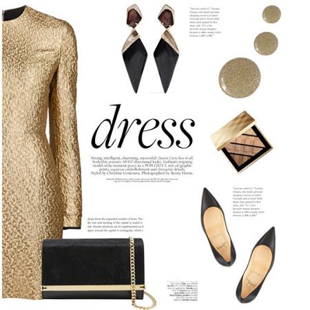 ست لباس طلایی با کفش,بهترین رنگ کفش با لباس طلایی