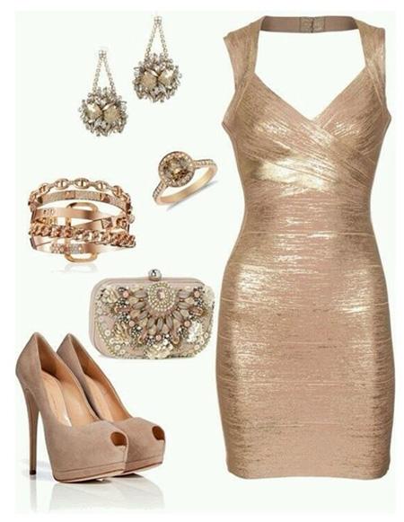 ست کردن با لباس طلایی,ست کفش با لباس طلایی