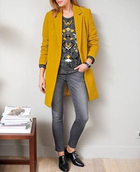 مدل های ست کردن با مانتوهای زرد و خردلی,ست مانتو زرد