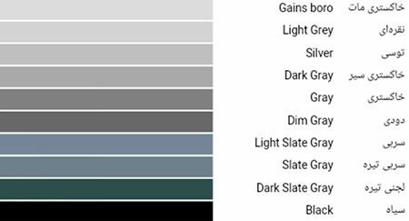 تفاوت رنگ طوسی و خاکستری,فرق رنگ طوسی و خاکستری
