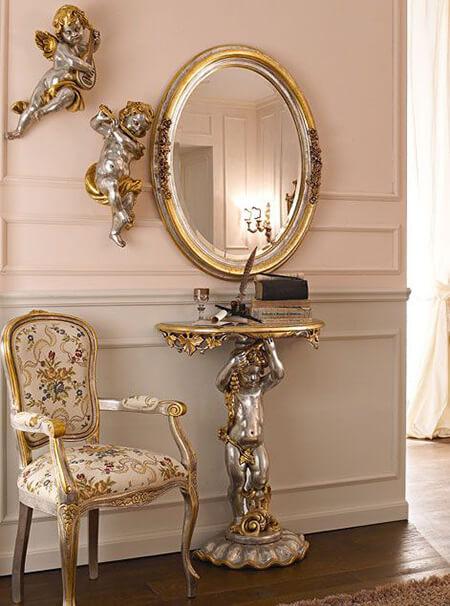 مدل آینه شمعدان دیواری, مدل آینه و کنسول دیواری