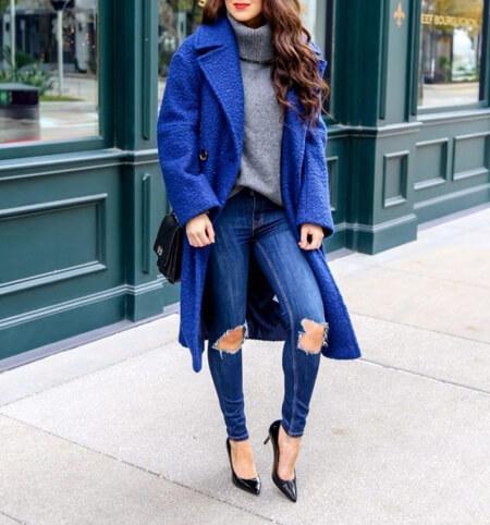 انواع پالتوهای آبی,مدل های جدید پالتو به رنگ آبی