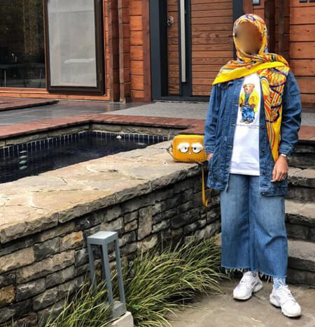 ایده هایی برای ست کردن با مانتوجین, ست مانتو جین با شال و روسری