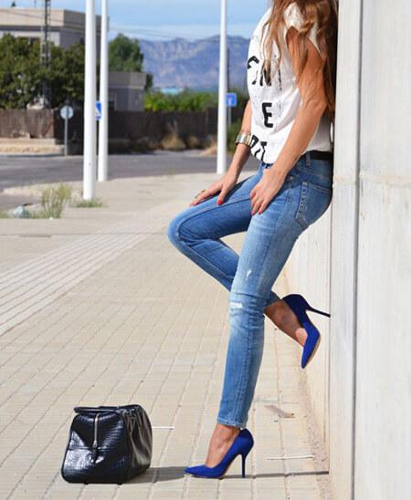تکنیک های ست کردن با کفش های آبی,بهترین لباس های مناسب با کفش های آبی