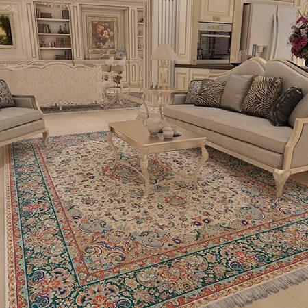 مدل فرش فیروزه ای, ست فرش فیروزه ای