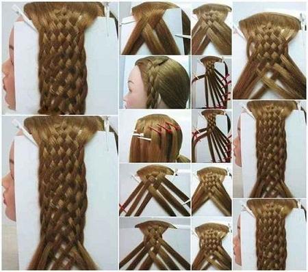 آموزش تصویری بافت مو حصیری ، عکس مدل بافت مو حصیری،آموزش بافت مو حصیری