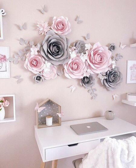 تزیین دیوار با گل کاغذی, تزیین دیوار با گل های کاغذی