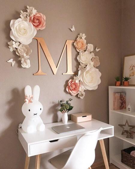 تزیین دیوار اتاق با گل های کاغذی,تزیین دیوار با گل های کاغذی