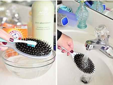 ضدعفوني كردن شانه , آموزش تمیز کردن برس مو , روش تمیز کردن انواع برس مو