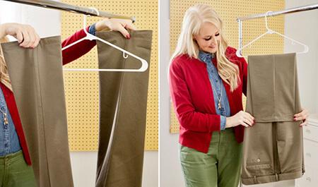 روش آویزان کردن شلوار به چوب لباسی, ایده برای آویزان کردن شلوار به چوب لباسی, آموزش آویزان کردن شلوار به چوب لباسی