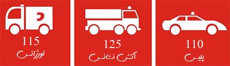 شماره تلفن اورژانس تهران ، شماره اتش نشانی