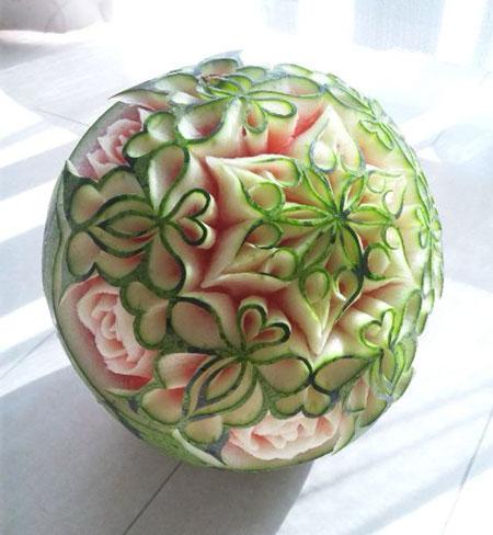 تصاویر تزئین هندوانه, حکاکی روی هندوانه
