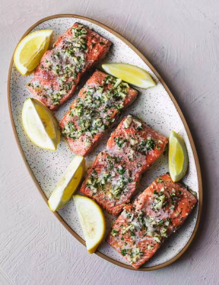 طرز تهیه ماهی سالمون در فر, پخت ماهی سالمون در فر, طرز تهیه ماهی سالمون