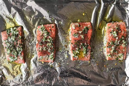 پخت فیله ی ماهی با سیر, پخت ماهی سالمون با سیر, طرز تهیه ی فیله های ماهی