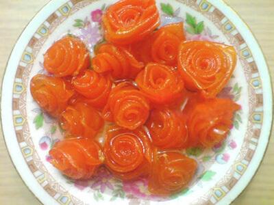 پخت مربا هویج به شکل گل, طرز تهیه مربا بالنگ به شکل گل رز