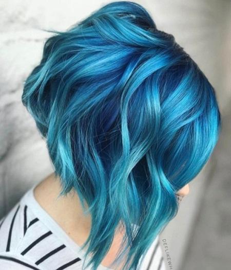 رنگ مو آبی آسمانی, رنگ مو آبی, رنگ مو آبی سبز روشن