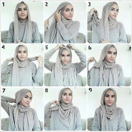 بستن شال و روسری عربی, نحوه بستن شال و روسری