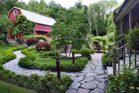 سنگ چین دور باغچه,کف حیاط سنتی