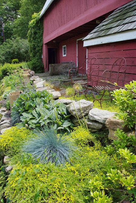 نمای سنگ فرش ویلا,تزیین باغ با سنگ