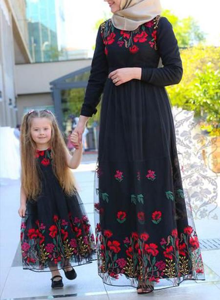 مدل ست پیراهن بلند مادر و دختر,ست پیراهن رسمی مادر و دختر