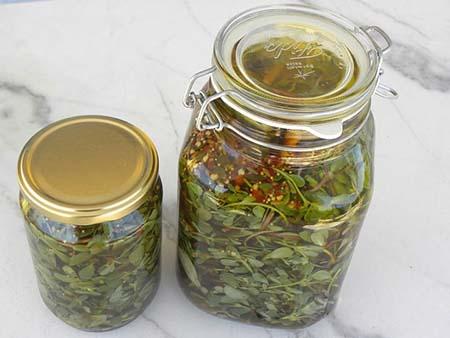 ترشی خرفه با هویج, ترشی خرفه با بادمجان, طرز تهیه ترشی برگ خرفه