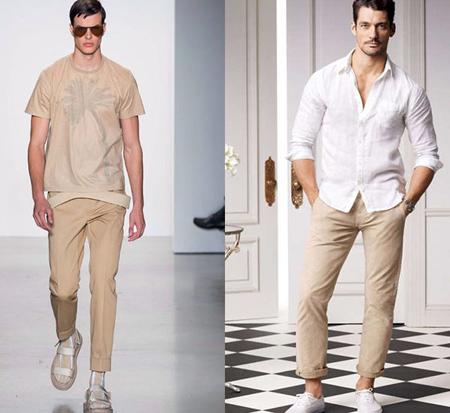 شلوار کرم,ست شلوار کرم مردانه با پیراهن
