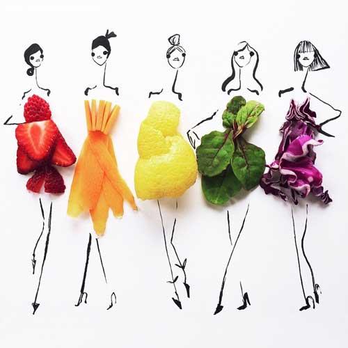 %name طراحی مدل لباس با مواد غذایی