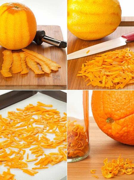 خلال پوست پرتقال خشک, طرز تهیه خلال پوست پرتقال خشک