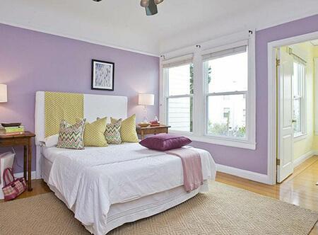 رنگ های مناسب با رنگ یاسی, رنگ های ست شده با رنگ یاسی, بهترین ترکیب های رنگ یاسی در دکوراسیون اتاق خواب