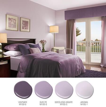 دکوراسیون رنگ یاسی اتاق خواب, دکوراسیون اتاق خواب یاسی, دکوراسیون و چیدمان یاسی اتاق خواب