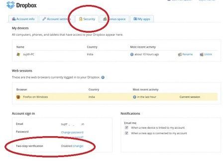 راهنمای احراز هویت دو عاملی Dropbox, نحوه فعال کردن تأیید صحت دو مرحله ای Dropbox, فعال کردن تأیید صحت دو مرحله ای Dropbox
