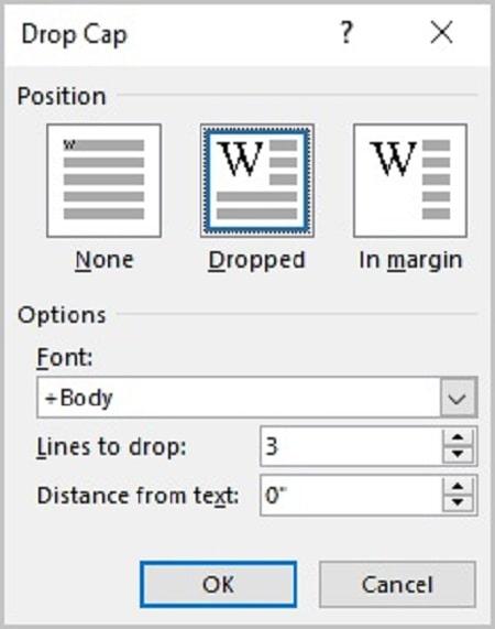 چگونگی كار با Drop Cap , آموزش استفاده از Drop Cap در ورد , بزرگ کردن حرف ابتدای پاراگراف