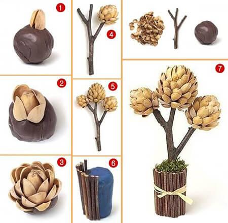 آموزش ساخت گل با پوست پسته, کاردستی با پوست پسته آسان, کاردستی با پوست پسته برای پیش دبستانی