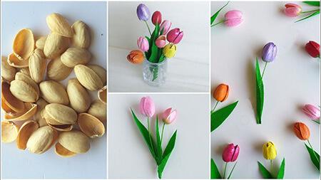 ساخت کاردستی با پوست پسته, تابلو با پوست پسته,آموزش ساخت گل با پوست پسته