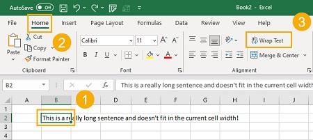 حذف بسته بندی متن در اکسل, آشنایی با Wrap Text, قرار دادن متن در چند خط اکسل