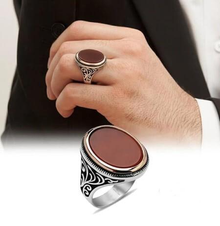 مدل انگشتر مردانه, انگشتر مردانه با سنگ حدید, مدل انگشترهای مردانه با سنگ هماتیت